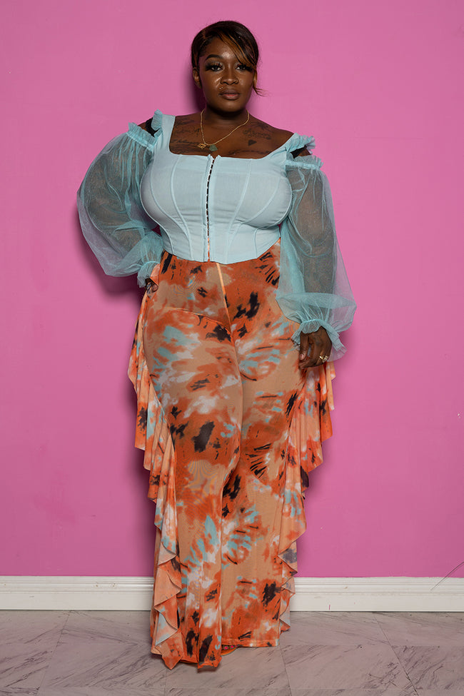 "Plus Size ""I Got a Thing 4 U"" Mesh High Waist Ruffle Tie Dye Pants - Peach Multi"