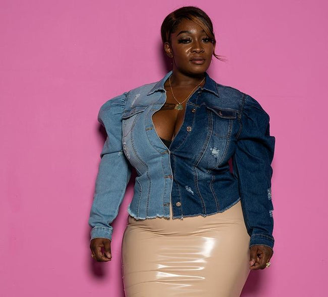 "Plus Size ""Two Faced"" Denim Puff Sleeve Jacket - Light Dark Denim"