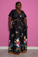"Plus Size ""Midnight Fields""  Floral Set - Black Multi"