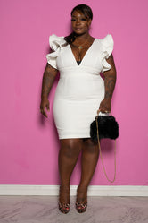 "Plus Size ""Raise The Bar"" Riffle Mine Dress - Ivory"