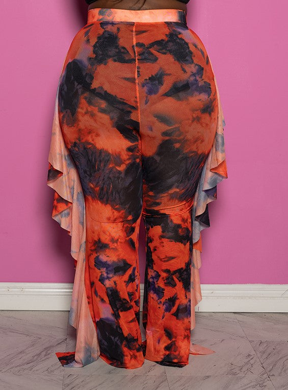 "Plus Size ""I Got a Thing 4 U"" Mesh High Waist Ruffle Tie Dye Pants - Orange Purple Multi"