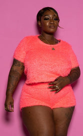 "Plus Size ""Teddy Bear"" Fuzzy Short Set - Neon Pink"