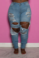 "Plus Size ""D Squared"" Ripped Denim Jeans - Medium Wash"