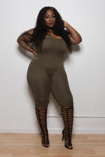"Plus Size ""Hunnie"" Capri Tube Jumper - Olive"