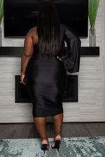 "Plus Size "" Stepping Out"" One Sleeve Dress - Black"