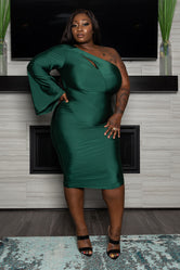 "Plus Size "" Stepping Out"" One Sleeve Dress - Hunter Green"