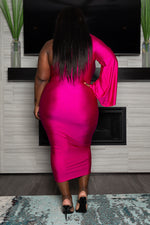 "Plus Size "" Stepping Out"" One Sleeve Dress - Fuchsia"