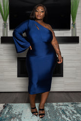 "Plus Size "" Stepping Out"" One Sleeve Dress - Navy Blue"