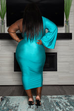 "Plus Size "" Stepping Out"" One Sleeve Dress - Jade"