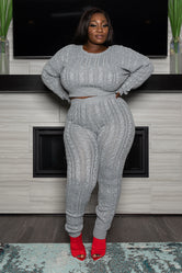 "PRE ORDER Plus Size ""It's a Set Up"" Cable Knit Sweater Set - Heather Gray"