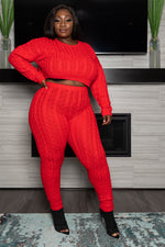 "Plus Size ""It's a Set Up"" Cable Knit Sweater Set - Red"