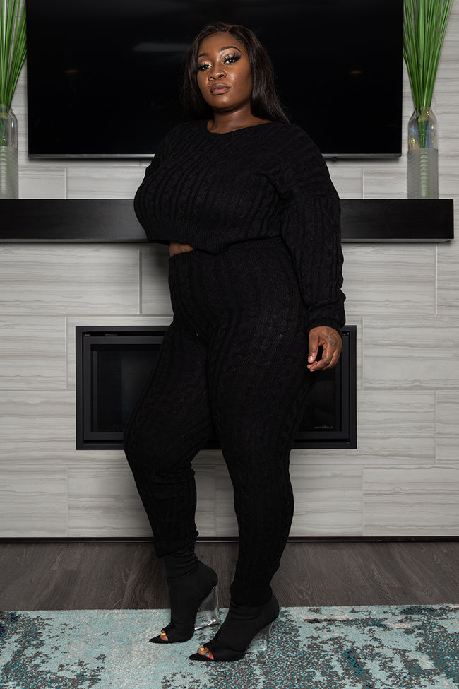 "Plus Size ""It's a Set Up"" Cable Knit Sweater Set - Black"