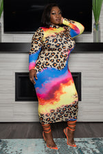 "Plus Size ""WIld Sunset"" Animal Print Midi Dress - Brown Blue"