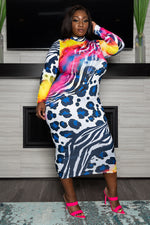 "Plus Size ""I'm in Denial"" Animal Print Midi Dress - White Blue"