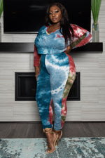 "Plus Size ""The Perfect View""  Tie Dye Hoodie Set - Blue Rust Olive"