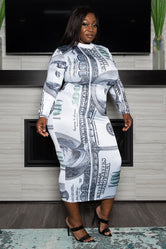 "Plus Size ""Benny"" Midi Money Dress - Green White"