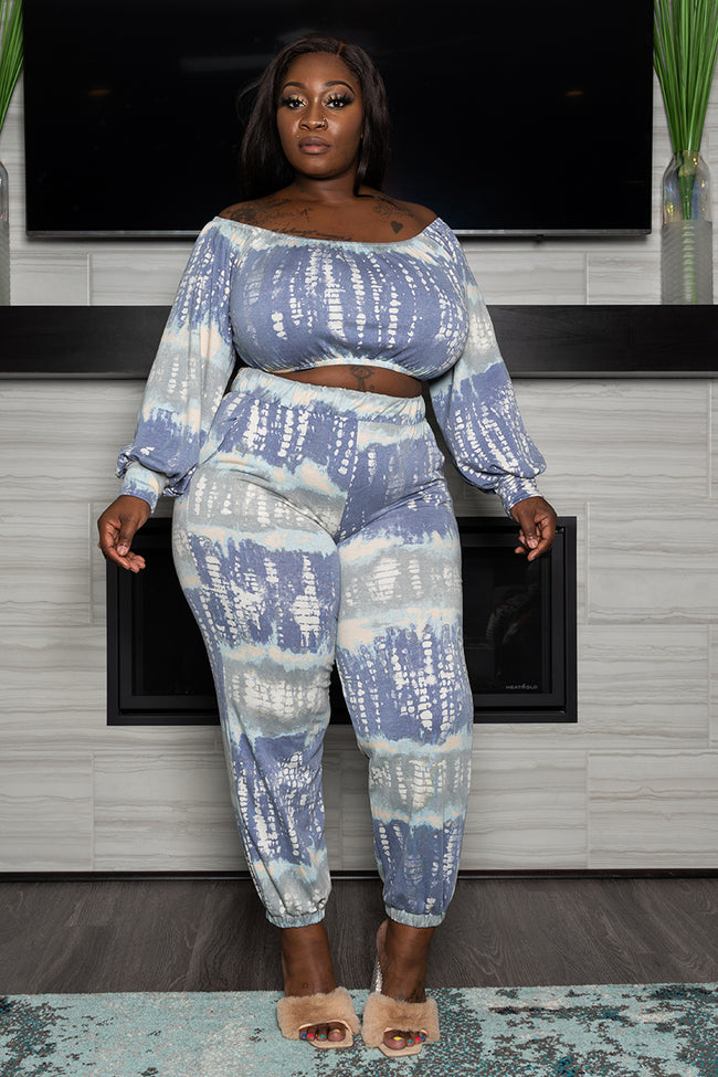 "Plus Size ""Purple Haze"" Jogger Set - Gray Lavendar"