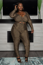 "Plus Size ""Smoke n Glitter"" Ruched Shimmer Pant Set - Gold"