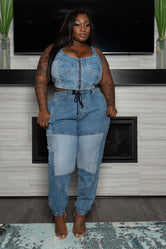 """Treat Me To Denim"" Crop Top Pant Set - Blue Jean"