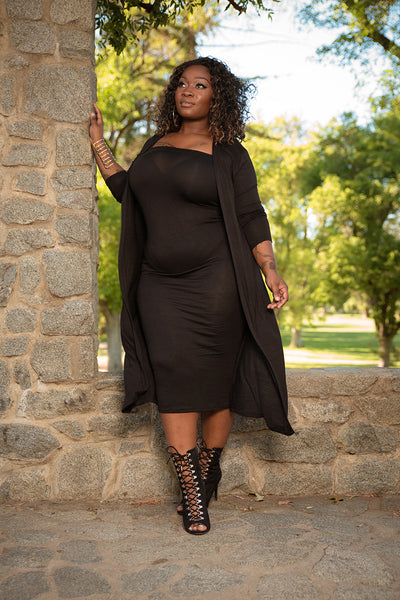 "Plus Size ""Lana"" 2 Piece Strapless Tube Dress Duster Set - Black"