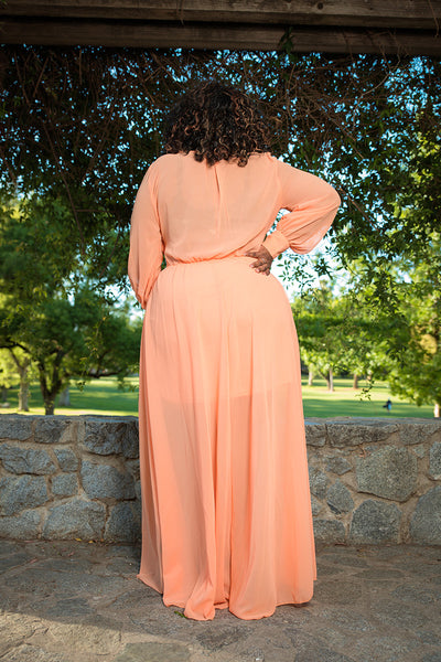 "Plus Size ""Summer Breeze"" Chiffon Maxi Dress - Apple Green"
