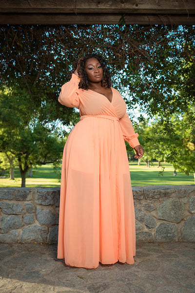 "Plus Size ""Summer Breeze"" Chiffon Maxi Dress - Apricot"