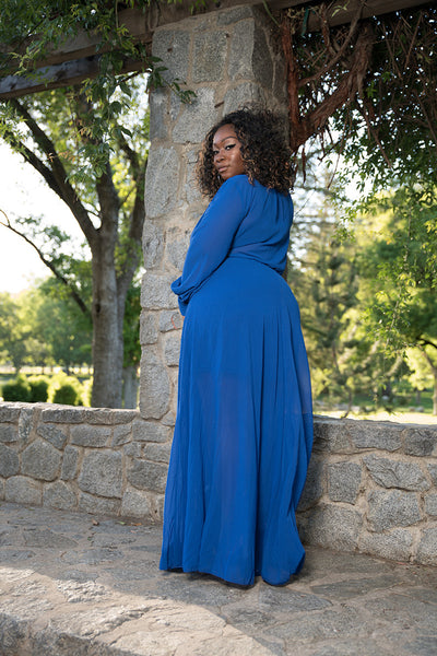 "Plus Size ""Summer Breeze"" Chiffon Maxi Dress - Royal Blue"