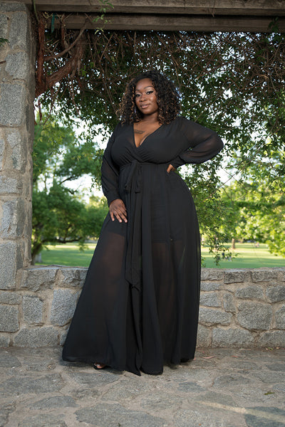 "Plus Size ""Summer Breeze"" Chiffon Maxi Dress - Black"