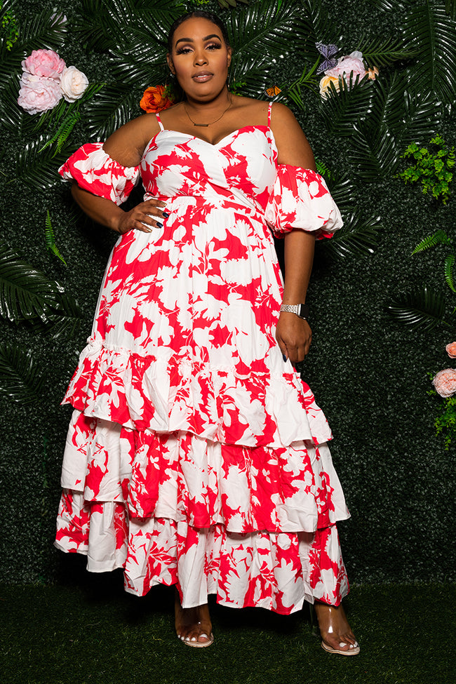 """Rosita"" Floral Maxi Dress - Red White"