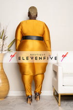 "Plus Size ""Get Em Girl"" Slinky Catsuit Jumpsuit - Gold"