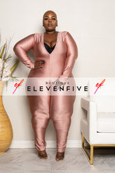 "Plus Size ""Get Em Girl"" Slinky Catsuit Jumpsuit - Champagne Pink"