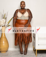 "Plus Size ""Fine As Wine"" Vegan Leather Faux Wrap Fringe Skirt -Cognac Brown"