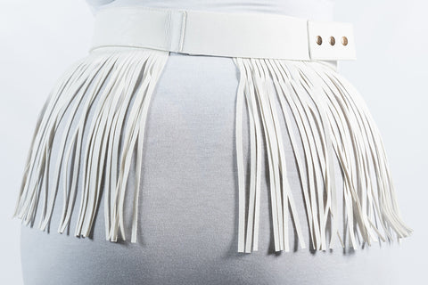Plus Size Short Fringe Belt - White