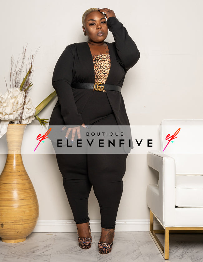 "Plus Size ""Suits Me Just Fine"" Pant Suit Set - Black"