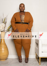 "Plus Size ""Suits Me Just Fine"" Pant Suit Set - Brown"