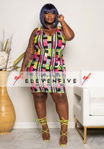 "Plus Size ""Glam Frenzy"" Sequin Color Block Pattern Dress - Multi Fuchsia Lime Green"
