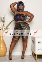 "Plus Size ""Spread Love"" Sequin Tube Top Set - Multi Black"