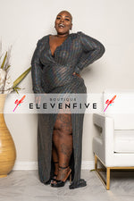 "Plus Size ""Mirror Ball"" High Split Gown Dress - Pewter Metallic Silver"