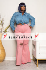 "Plus Size ""Raimie"" High Waist Bell Bottom Destroyed Denim Jeans - Blush"