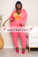 "Plus Size ""Suits Me Just Fine"" Pant Suit Set - Neon Pink"