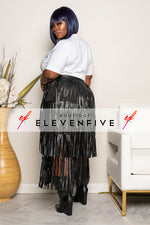 "Plus Size ""Della"" Vegan Leather Fringe Skirt - Black"