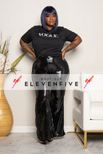 "Plus Size ""Razzle Dazzle"" Bell Bottom Sequin Pant - Black"