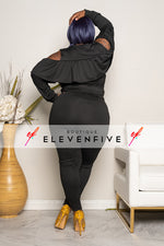 "Plus Size ""Cut Me Some Slack"" Cold Shoulder Jogging Set - Black"