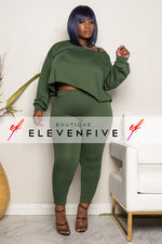 "Plus SIze ""CATCH A FLIGHT"" 2 Piece Set - Olive"