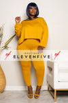 "Plus SIze ""CATCH A FLIGHT"" 2 Piece Set - Mustard"