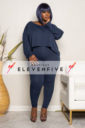 "Plus SIze ""CATCH A FLIGHT"" 2 Piece Set - Navy"