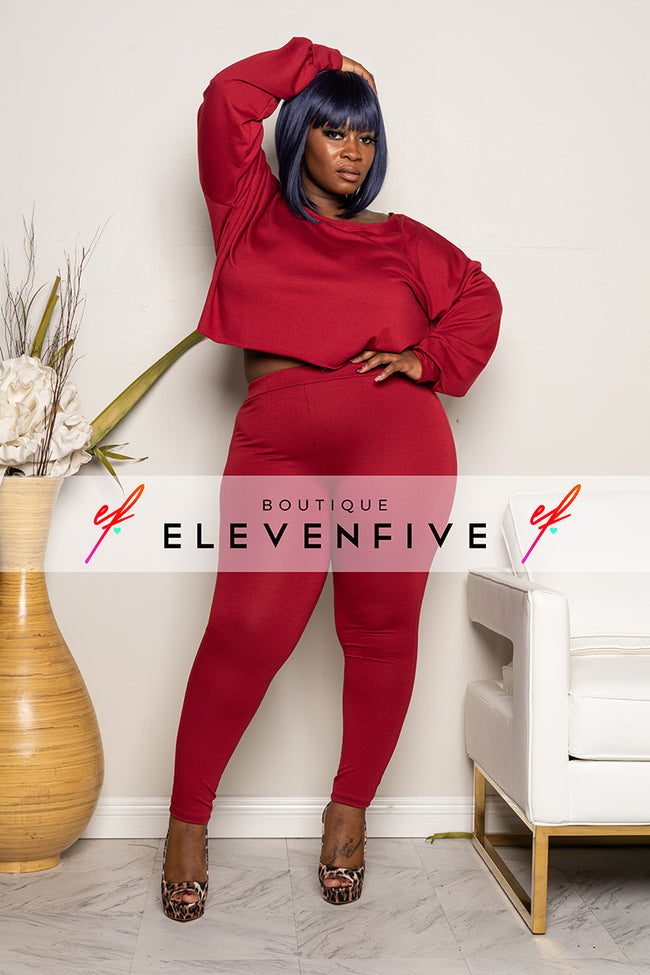 "Plus SIze ""CATCH A FLIGHT"" 2 Piece Set - Burgundy"