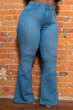 "Plus Size ""Jalissa"" High Waist Bell Bottom Denim Jeans - Medium"