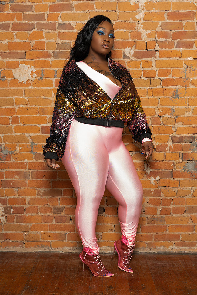 "Plus Size ""Simply Incredible"" Slinky Jumpsuit - Pink"