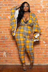 "Plus Size ""Mrs. Wright"" Checkered Ruffle Bell Sleeve Jumpsuit - Mustard"